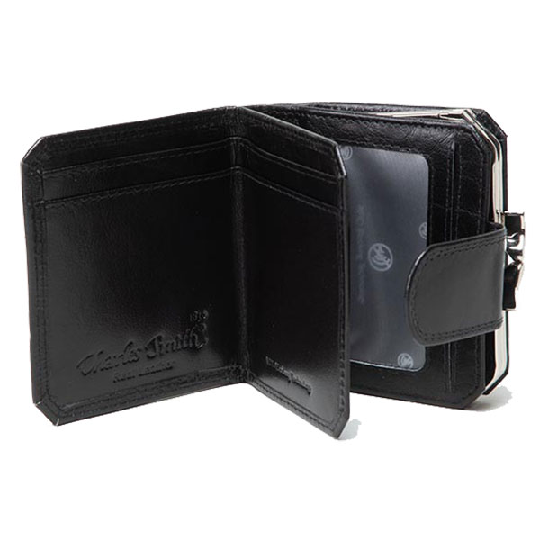 Oxford|Leathercraft|Frame|Purse|60328|Black|Open|